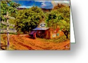 Country Dirt Roads Painting Greeting Cards - Yesteryear Greeting Card by John Thompson