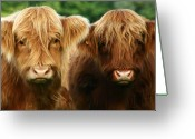 Horns Greeting Cards - Yeti Cows  Greeting Card by Angel  Tarantella