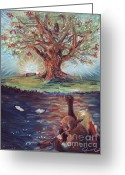 Eagle Pastels Greeting Cards - Yggdrasil - the Last Refuge Greeting Card by Samantha Geernaert