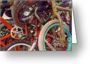 Handlebar Mixed Media Greeting Cards - Yikes Bikes Greeting Card by Bob Senesac