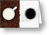 Cup Photo Greeting Cards - Yin And Yang Coffee And Milk Greeting Card by Gert Lavsen Photography
