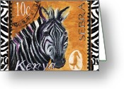 Postage Stamp Greeting Cards - Yipes Z-Stripes Greeting Card by Debbie McCulley