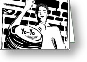 Learn To A Maze Greeting Cards - Yo Yo Maze Greeting Card by Yonatan Frimer Maze Artist