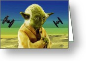 Fighters Painting Greeting Cards - Yoda  Greeting Card by Michael Greenaway