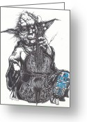 Ink Greeting Cards - Yoda Soothes Baby R2 With the Charm of His Homegrown Cello Greeting Card by Iosua Tai Taeoalii