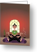 Lotus Greeting Cards - Yoga Pretzel Greeting Card by Cristina McAllister
