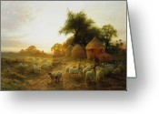 Feeding Painting Greeting Cards - Yon Yellow Sunset Dying in the West Greeting Card by Joseph Farquharson