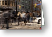 Busy City Greeting Cards - Yonge and Queen street intersection Greeting Card by Igor Kislev
