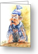 Watercolour Greeting Cards - Yorkie Greeting Card by Lucia Del