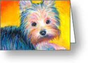 Custom Portrait Greeting Cards - Yorkie puppy painting print Greeting Card by Svetlana Novikova