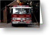 Fire Houses Greeting Cards - Yosemite California Fire Engine . 7D6142 Greeting Card by Wingsdomain Art and Photography