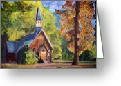 Teresa Dominici Greeting Cards - Yosemite Chapel in Autumn Greeting Card by Teresa Dominici