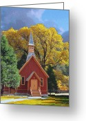 Grand Memories Greeting Cards - Yosemite Chapel Greeting Card by John Haldane