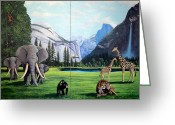 Lions Painting Greeting Cards - Yosemite Dreams Greeting Card by Frank Wilson
