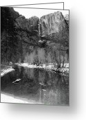 Merced County Greeting Cards - Yosemite Falls and Merced River Yosemite National Park CA Greeting Card by Troy Montemayor