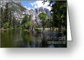 C Casch Greeting Cards - Yosemite Falls In The Spring Greeting Card by C Casch