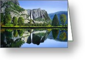  Parks Drawings Greeting Cards - Yosemite falls inspired from a David Muench Photo Greeting Card by Stephen Ponting