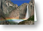 Idyllic Greeting Cards - Yosemite Falls Greeting Card by Jean Day Landscape Photography