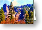 Impressionist Art Greeting Cards - Yosemite In The Fall . 7D6287 Greeting Card by Wingsdomain Art and Photography