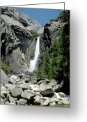 Yosemite Creek Greeting Cards - Yosemite Lower Falls Greeting Card by LeeAnn McLaneGoetz McLaneGoetzStudioLLCcom