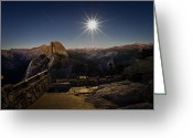 4 Greeting Cards - Yosemite National Park Half Dome Full Moon Greeting Card by Scott McGuire
