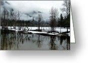 Snow On Field Greeting Cards - Yosemite River View in Snowy Winter Greeting Card by Jeff Lowe