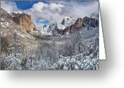 Human Nature Greeting Cards - Yosemite Valley In Snow Greeting Card by Www.brianruebphotography.com