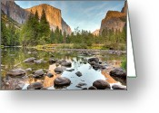 Nature Photography Greeting Cards - Yosemite Valley Reflected In Merced River Greeting Card by Ben Neumann