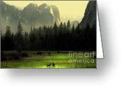 Bierstadt Greeting Cards - Yosemite Village Golden Greeting Card by Wingsdomain Art and Photography