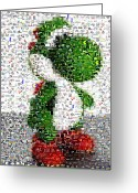 Green Monster Greeting Cards - Yoshi Mosaic Greeting Card by Paul Van Scott