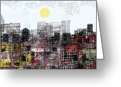 Cityscape Digital Art Greeting Cards - You are here  Greeting Card by Andy  Mercer