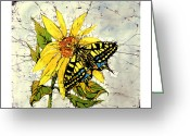 Peaceful Tapestries - Textiles Greeting Cards - You Are My Sunshine Tiger Swallowtail and Sunflower Greeting Card by Kathy Tsonas
