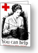 Great Mixed Media Greeting Cards - You Can Help American Red Cross Greeting Card by War Is Hell Store