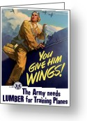Pilot Greeting Cards - You Give Him Wings Greeting Card by War Is Hell Store