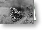 Motorcycle Racing Greeting Cards - You Gotta Love It Monochrome Greeting Card by Bob Christopher