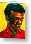 Civil Rights Greeting Cards - Young African Man Greeting Card by Carole Spandau