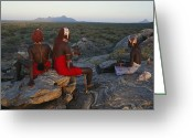 Ethnic And Tribal Peoples Greeting Cards - Young Ariaal Warriors Rest On A Rock Greeting Card by Maria Stenzel