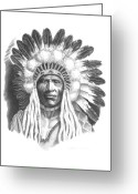 Western Pencil Drawings Greeting Cards - Young Blackfoot Greeting Card by Lee Updike