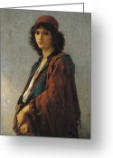Orientalist Greeting Cards - Young Bohemian Serb Greeting Card by Charles Landelle
