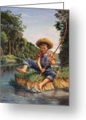 Creeks Greeting Cards - Young Boy Fishing river americana rustic rural nostalgic country American scene print Greeting Card by Walt Curlee