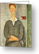 Modigliani Painting Greeting Cards - Young boy with red hair Greeting Card by Amedeo Modigliani