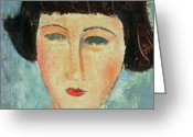 Modigliani Painting Greeting Cards - Young Brunette Greeting Card by Modigliani