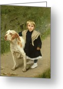 Garden Pathway Greeting Cards - Young Child and a Big Dog Greeting Card by Luigi Toro