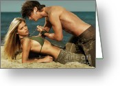 Making Love Greeting Cards - Young Couple on the Beach Greeting Card by Oleksiy Maksymenko