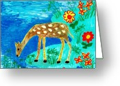 Sue Burgess Ceramics Greeting Cards - Young deer drinking Greeting Card by Sushila Burgess