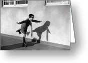 Full Skirt Photo Greeting Cards - Young Girl (7-9) On Rollerskates (b&w) Greeting Card by Hulton Archive