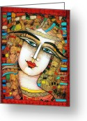 Albena Greeting Cards - Young Girl Greeting Card by Albena Vatcheva
