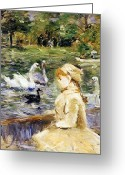Swans Painting Greeting Cards - Young girl boating Greeting Card by Berthe Morisot
