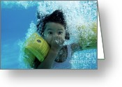 Head Piece Greeting Cards - Young Girl Diving In A Swimming Pool Underwater Greeting Card by Sami Sarkis