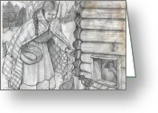 Feeding Drawings Greeting Cards - Young Girl Feeding The Chickens In The 1800s Greeting Card by Francine Heykoop